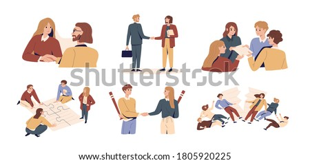 Set of bad, failed or successful team work and deception in partnership. Concept of business agreement or betray between partners. Dishonest teamwork flat vector illustration isolated on white