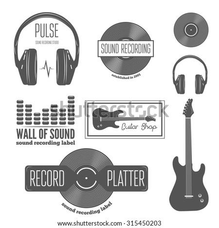 Set of badge,label, sticker, emblem, print and elements for sound recording studio, t-shirt or sound production