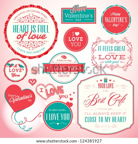 Set of badges and elements for Valentine`s day