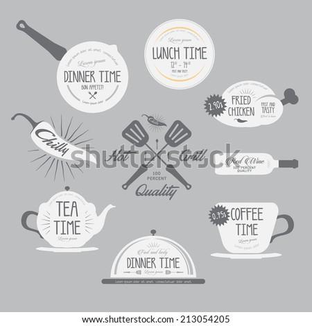 Set of badges and labels elements for restaurant.