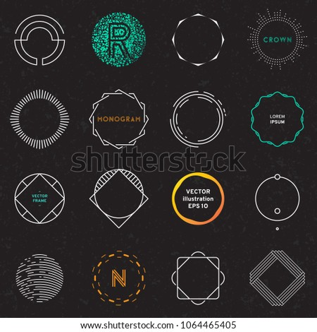Set of badges and labels elements. Modern geometric design. Circles, Logos and monograms. Vector illustration, EPS 10