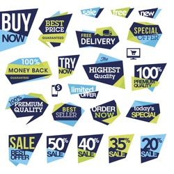 Set of badges and labels for sale