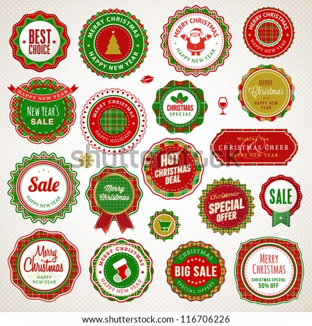 Set of badges and stickers for Christmas and New Year - stock vector