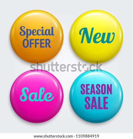 Set of badges as Special offer, New, Sale, Season sale. Product promotions. Discount buttons collection. Vector.