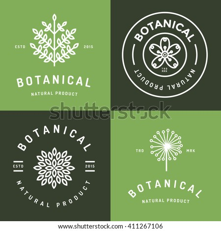 Set of badges, banner, labels and logos for botanical natural product, shop. Leaf logo, flower logo. Linear outline stroke design. Vector illustration.