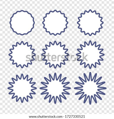 Set of badges - Big set of vector graphic circle frames for design. Circle wave line and wavy zigzag pattern lines. Vector blue outlines, round curvy squiggles Stock foto ©