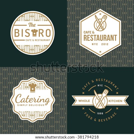 Set of badges, labels and logos for food restaurant, foods shop and catering with pattern. Vector illustration.
