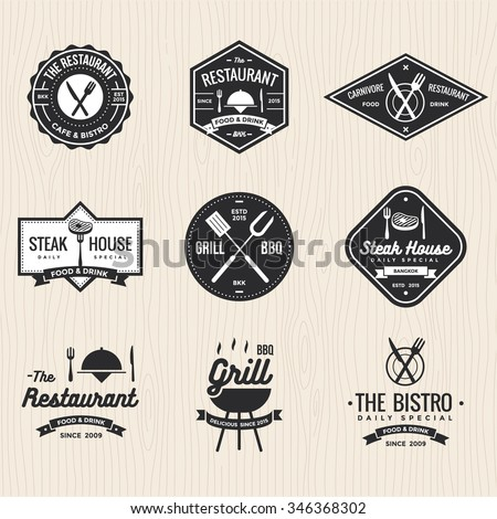 Set of badges, labels and logos for restaurant, foods shop, steak house and barbecue