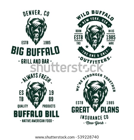 Set of badges labels logo design element. Buffalo icon. Collection of quality vintage emblems for various businesses. Premium retro vintage americana style graphic symbols. Bison Vector illustration.
