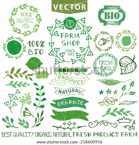 Set of badges,labels,logo,floral elements,wreaths and laurels.Organic,bio,natural design template.Hand drawing painting.Vintage vector.Green Logotype maker