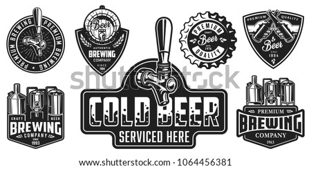 Set of badges with beer equipment in monochrome style. Vector illustration. #1064456381