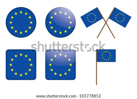 set of badges with European Union flag vector illustration