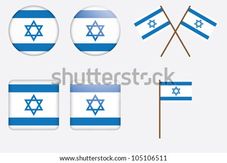 set of badges with flag of Israel vector illustration