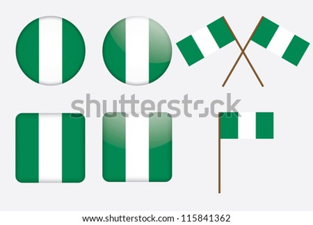 set of badges with flag of Nigeria vector illustration