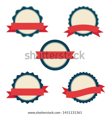Set of badges with red ribbons. Labels and banners for web design.