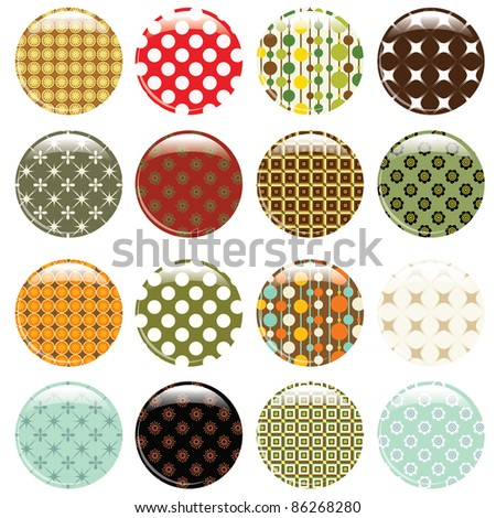 set of 16 badges with retro pattern