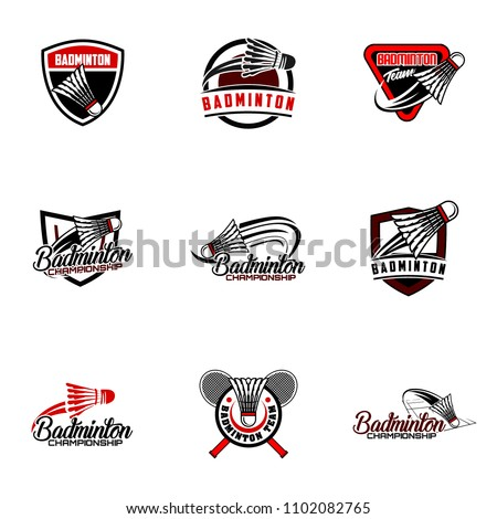 Set of badminton team design logo emblem template. Abstract sport badge vector illustration collection