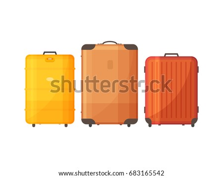 Set of bags for travel. Suitcases with handle for travel. Vector illustration.