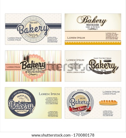 Set of 6 bakery business card templates