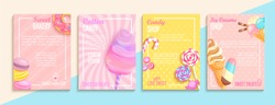 Set of bakery,candy,cotton candy,ice cream flyers,banners.Collection of pages for kids menu,caffee,posters.Macaroons,donuts, lollipop shop cards, cafeteris advertise.Template vector illustration.