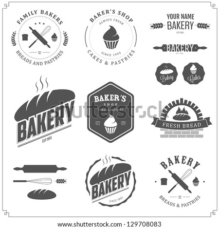 Set of bakery logos labels badges and design elements