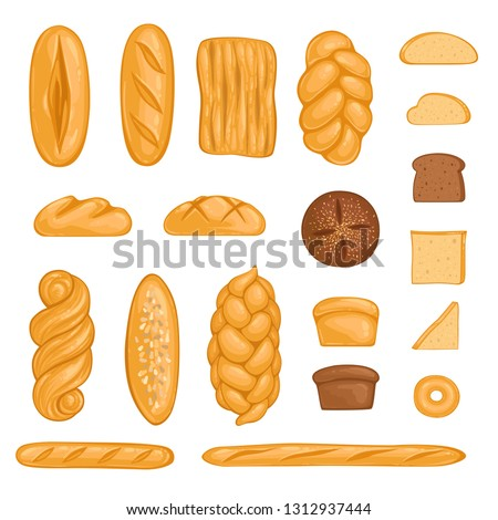Set of bakery products. Bread, loaf, hala, baguette and rye bread in cartoon style. Vector illustration Stok fotoğraf ©