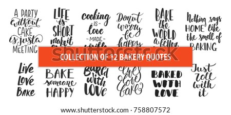 Set of bakery vector hand drawn unique typography design elements for posters, greeting cards, decoration, prints. Handwritten lettering. Modern ink brush calligraphy.
