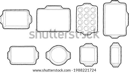 Set of Baking Tray Vector Illustration Hand Drawn Cartoon Art Foto d'archivio ©