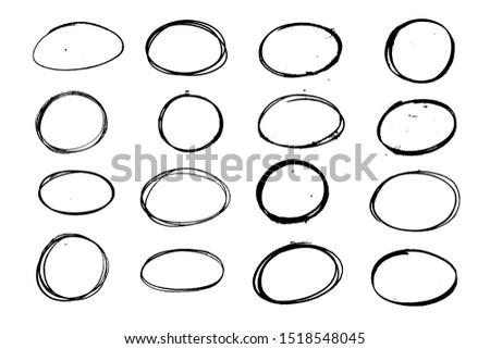 Set of balck grunge oval, circle. Hand sketched design element.