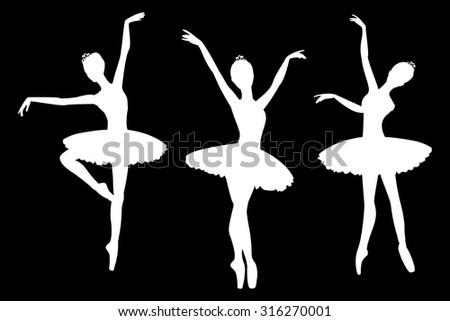 set of ballerinas silhouettes