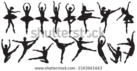 Set of ballerinas silhouettes. Сollection of ballerinas in different  poses.Dancing woman.Black and white illustration of a classical dancer.