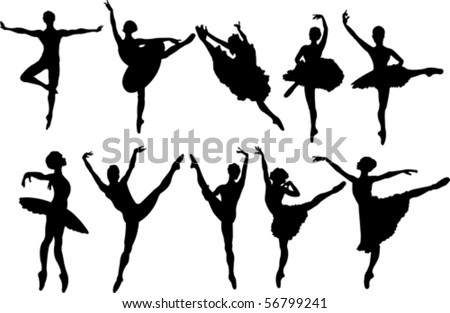 Set of ballet dancers silhouettes. Vector illustration - stock vector
