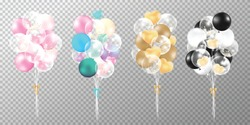 Set of balloons on transparent background. Realistic glossy pink, gold, black and pastel balloons vector illustration. Party balloons decorations wedding, birthday, celebration and anniversary card