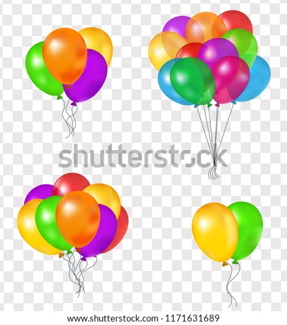 set of balloons  vector 3d