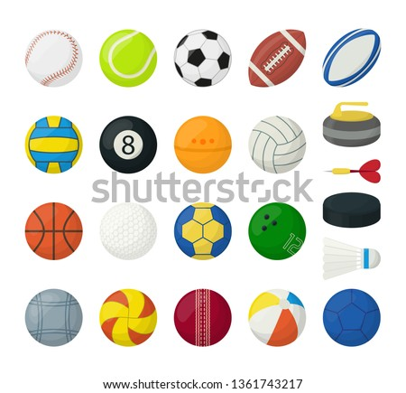 Set of balls for different types of sports, isolated on white #1361743217