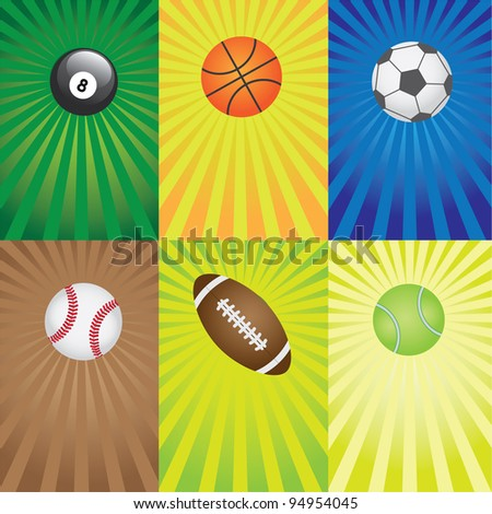 Set of balls for sport games on the coloured abstract background.