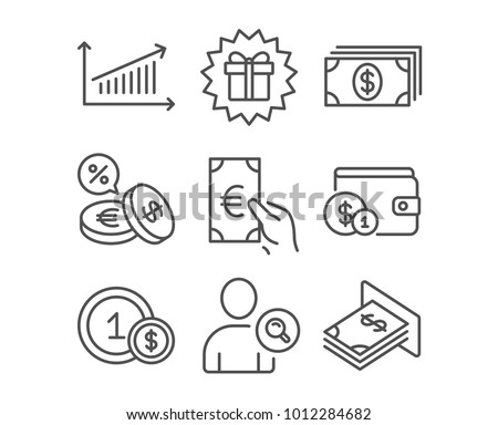 Set of Banking, Finance and Chart icons. Surprise gift, Currency exchange and Usd coins signs. Buying accessory, Find user and Atm money symbols. Money payment, Eur cash, Presentation chart. Vector