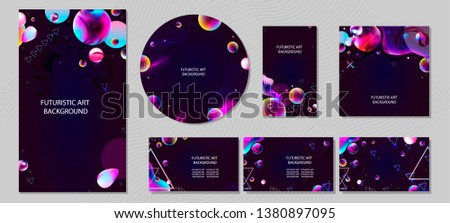 Set of banner different forms style of cosmos universe stars galaxy 3d futuristic study trip. Background modern starry glowing abstraction planet neon