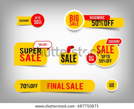 Set of banner elements, discount tag collection, special offer. Modern yellow and red sale website stickers on a gray abstract background, color web page design
