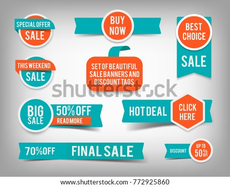 Set of banner elements, vector offer tag collection, discount label design, sale web coupons. Promotion badge icons, retail sign collection, best price business poster