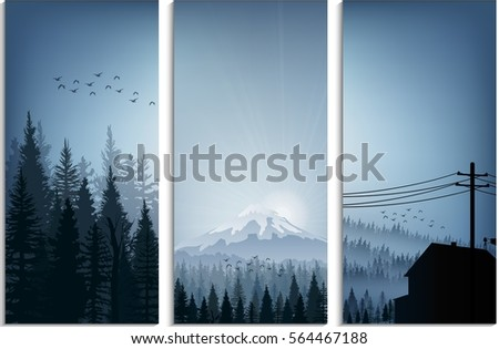 set of banner forest trees