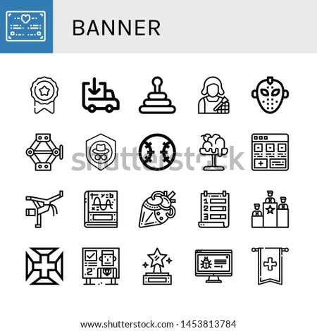Set of banner icons such as Wedding certificate, Medal, Loading, Pyramid, Makeup artist, Hockey mask, Jack, Shield, Baseball, Melt, Add, Capoeira, Calculus, Artificial heart , banner