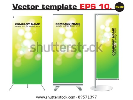 Set of banner stand display with green bokeh abstract light identity background ready for use. Vector template for design work - stock vector