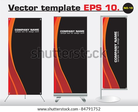 Set of banner stand display with identity background ready for use. Vector template for design work