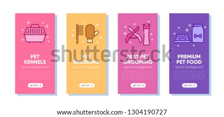 Set of banner template for pet shop, veterinary clinic, pet store, zoo, shelter. Card, flyer, banner, poster for advertisement. Flat style design, vector illustration.