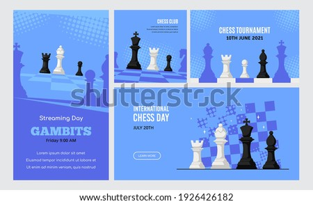 Set of Banner Templates of Different Sizes. Chess Club, Chess Tournament, International Chess Day, Online Chess Streaming Photo stock ©