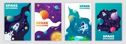 set of banner templates. universe. space. space trip. design. vector illustration