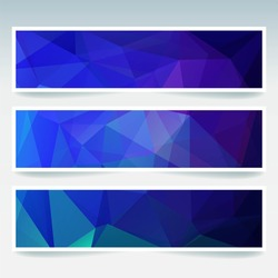Set of banner templates with abstract background. Modern vector with polygonal background. Blue color.