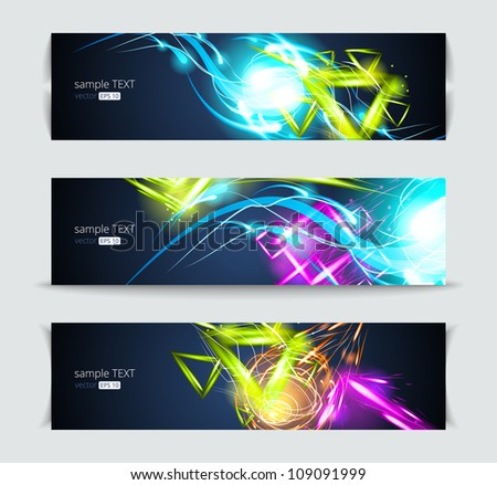 Set of banners and abstract headers with shadows.