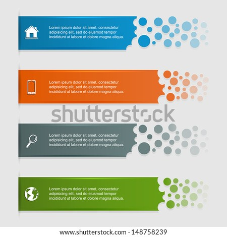 Set of banners, can be used for infographics, diagram, vertical lines, step up options, web template, illustration.